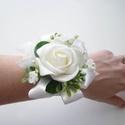 Menyasszonyi csuklódísz, Esküvő, Hajdísz, ruhadísz, Elegáns fehér habrózsából készült menyasszonyi csuklódísz.  Személyes átvétel Köki kör..., Meska