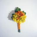 Esküvői kitűző sárga, Esküvő, Hajdísz, ruhadísz, Narancs és sárga selyem virágokból készült vidám esküvői bokréta kitűző.  Személyesen átvehető pl. X..., Meska