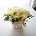 Kis asztaldísz kosárkában, Vidám selyemvirág - szárazvirág asztaldísz, f...