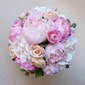 Bazsarózsás menyasszonyi csokor , Minőségi, élethű alapanyagból - selyem bazsar...