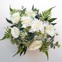 Greenery menyasszonyi csokor kövirózsával, Minőségi, élethű alapanyagból - selyem eukali...