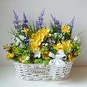 Virágos rét virág kosár , Vidám selyemvirág asztaldísz, fehér cseresznye...