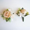 Esküvői selyemvirág szett kitűző és kardísz púder, Esküvői stílusú selyemvirág szett. Kitűző a...