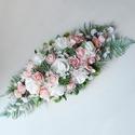 Esküvői örökvirág asztaldísz , Gyönyörű selyemhortenziából és habrózsábó...
