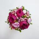 Pink selyemvirág csokor - dobócsokor, Elegáns vintage stílusú dobó csokor pink szín...