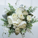 Kitűző + Greenery lazított menyasszonyi csokor , Minőségi, élethű alapanyagból - selyem eukali...