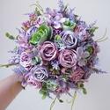 Levendulás rózsás vintage esküvői szett, Különleges lila vintage stílusú esküvői csok...