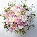 Vintage rózsaszín lazított menyasszonyi örökcsokor , Minőségi, élethű alapanyagból - selyem horten...