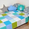 Türkiz-zöld patchwork ágytakaró, Dekoráció, Baba-mama-gyerek, Gyerekszoba, Falvédő, takaró, Egyedi tervezésű ágytakaró. Gyermekszobában ágytakarónak és takarónak egyaránt használható. Kiválóan..., Meska