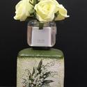 Gyöngyvirág szögletes váza, Dekoráció, Otthon, lakberendezés, Asztaldísz, Kaspó, virágtartó, váza, korsó, cserép, Decoupage, transzfer és szalvétatechnika, Gyöngyvirág szögletes váza  A nyár hangulatát idézi a finom tónusú virágos váza, mely méltó dísze a..., Meska