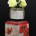 Pipacs szögletes váza, Dekoráció, Otthon, lakberendezés, Asztaldísz, Kaspó, virágtartó, váza, korsó, cserép, Decoupage, transzfer és szalvétatechnika, Pipacs szögletes váza  A nyár hangulatát idézi a finom tónusú virágos váza, mely méltó dísze a laká..., Meska