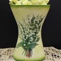 Gyöngyvirágos íves váza, Dekoráció, Otthon, lakberendezés, Asztaldísz, Kaspó, virágtartó, váza, korsó, cserép, Decoupage, transzfer és szalvétatechnika, Gyöngyvirágos íves váza  A nyár hangulatát idézi a finom tónusú virágos váza, mely méltó dísze a la..., Meska