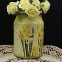 Kerámia nárcisz váza, Dekoráció, Otthon, lakberendezés, Kaspó, virágtartó, váza, korsó, cserép, Asztaldísz, Decoupage, transzfer és szalvétatechnika, Kerámia nárcisz váza  Tavasz- és nyáridéző modern lakbendezési kellék, dekoráció.   A váza különleg..., Meska