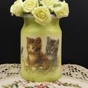Kerámia cicás váza, Dekoráció, Otthon, lakberendezés, Állatfelszerelések, Kaspó, virágtartó, váza, korsó, cserép, Decoupage, transzfer és szalvétatechnika, Kerámia cicás váza  Macskakedvelőknek kiválló meglepetés, ajándék.   A váza különlegessége a rücskö..., Meska