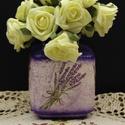 Levendula szögletes váza, Dekoráció, Otthon, lakberendezés, Asztaldísz, Kaspó, virágtartó, váza, korsó, cserép, Decoupage, transzfer és szalvétatechnika, Levendula szögletes váza  A nyár hangulatát idézi a finom tónusú virágos váza, mely méltó dísze a l..., Meska