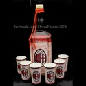 AC MILAN emblémával díszített italos szett , Férfiaknak, Focirajongóknak, Decoupage, transzfer és szalvétatechnika, Készlet tartalma : 0,75 l üveg + 6x45 ml pohár   Az általunk kifejlesztett -  egyedi technikával ké..., Meska