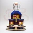 FC Barcelona pálinkás készlet sötét; Barcelona futball szurkolóknak, FC Barcelona italos készlet ( 0,2l + 2x 45ml + fa...