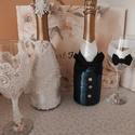 Esküvői dísz, Esküvő, Esküvői szett, Mindenmás, Különleges ajándék az ifjú párnak a Nagy napra! Törley pezsgőt díszítek fel, melyek az ifjú párt sz..., Meska