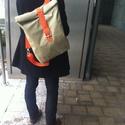 Roll up hátizsák, Táska, Hátizsák, Varrás, Nagy méretű hátizsák,ami impregnált anyagból készült,remek téli viselet a szürke hétköznapokban,a k..., Meska
