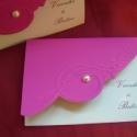 Dombornyomott csodaság 3., Naptár, képeslap, album, Képeslap, levélpapír, Kicsit merészebbre vettem ezt a meghívót, már ami a papírválasztást illeti:-) pink és fehér kombója,..., Meska