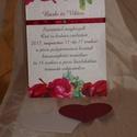 Virágosat álmodtam 2., Esküvő, Meghívó, ültetőkártya, köszönőajándék, Papírművészet, Ez a meghívó szintén a tavaszt idézi:-) Színeiben a bordó dominál, mind a virágmintában, szalagban ..., Meska