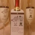 DeJó pezsgőspoharak, Konyhafelszerelés, Bögre, csésze, Ezek a pezsgőspoharak párban készülnek, a pezsgős címke is kérhető, de az ár csak az egy pár pohárra..., Meska
