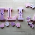 Dekorbetűk lányoknak rózsaszín, Dekoráció, Baba-mama-gyerek, Gyerekszoba, Baba falikép, Mindenmás, Textillel díszített polisztirol habbetűk írott vagy nyomtatott formában, egyedi igény szerint válas..., Meska
