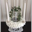 Esküvői dekoráció, Dekoráció, Esküvő, Ünnepi dekoráció, Esküvői dekoráció, Mindenmás, 38 cm magas, 4 ágú, Swarovski kövekkel és 150 habrózsával díszített luxus esküvői gyertyatartó, ame..., Meska