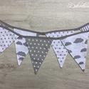 Szürke fiús zászlófüzér , Baba-mama-gyerek, Dekoráció, Gyerekszoba, Baba-mama kellék, Egyedileg készített, letisztult szürke mintás zászlófüzér, amelyet babaszoba dekorációnak ajánlunk. ..., Meska