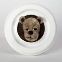 3D mackó portré, Dekoráció, Dísz, Kép, MDF fehér keretben, gyapjúból tűnemezeléssel készített mackó portré. , Meska