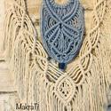 Makramé falidísz, Otthon & Lakás, Dekoráció, Csomózás, Újrahasznosított kék-natúr pamut fonalból és bambuszrúd felhasználásával készült egyedi makramé fal..., Meska