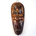 Afrikai maszk egzotikus bőrrel M-5, Dekoráció, Otthon, lakberendezés, Kép, Falikép, Fa faragású maszk, tigris motívummal, eredeti kígyóbőrrel díszítve.  30 cm, Meska