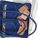Cimkés táska, Táska, Válltáska, oldaltáska, Varrás, Farmercimkés kézi táska. Méretei:35 x 25 x 9. fül:kb 70 cm, így vállra is akasztható. Belül 4 db zs..., Meska
