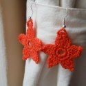 Horgolt fülbeveló, narancssárga virág, Ékszer, óra, Fülbevaló, Narancssárga, horgolt fülbevaló,  az átmérője 3,5 cm. Keményítve adom át. , Meska