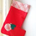 Karácsonyi csizma, Dekoráció, Karácsonyi, adventi apróságok, Karácsonyi dekoráció, Igazi karácsonyi hangulatot varázsolhatsz a lakásba ezzel a piros textilcsizmával, amelyet bárhová f..., Meska
