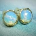Opalit holdkő bedugós fülbevaló, Egyszerű bedugós fülbevalót készítettem 8mm-...