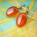 Vörös achát  francia kapcsos ásvány fülbevaló, Ékszer, Fülbevaló, Mint az őszi levelek, olyan színe van ezek nek a köveknek! Karamell színű  13x18mm-es vörös a..., Meska