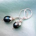 Blackberry - fekete tenyésztett gyöngy fülbevaló sterling ezüst akasztóval, Egyszerű, mindennapi fülbevalót készítettem 8...