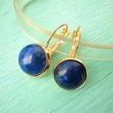 Lápisz lazuli fülbevaló 12mm-es nemesacél francia kapcsos alapon, Lápisz lazuliból készült fülbevaló 12mm-es k...
