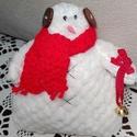 Tilda hóember, Játék & Gyerek, Baba-és bábkészítés, Kötés, Tilda hóember puha szőrme, frottír anyag felhasználásával, kötött sállal, szeme hímzett, orra ragas..., Meska