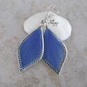 """Fonal fülbevaló - Teli (kék), Levél alakú fonal fülbevalóim """"teli"""" változat..."""