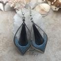"""Fonal fülbevaló - Macskaszem (kék), Levél alakú fonal fülbevalóim """"macskaszem"""" vá..."""