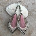 """Fonal fülbevaló - Macskaszem (rózsaszín), Levél alakú fonal fülbevalóim """"macskaszem"""" vá..."""