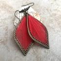 """Fonal fülbevaló - Teli (piros), Levél alakú fonal fülbevalóim """"teli"""" változat..."""