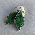 """Fonal fülbevaló - Teli (zöld, csillogó), Levél alakú fonal fülbevalóim """"teli"""" változat..."""