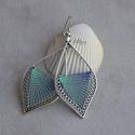 """Fonal fülbevaló - Ombre (kék-zöld), Levél alakú fonal fülbevalóim """"ombre"""" változa..."""