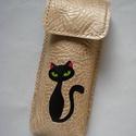 Arany fekete cica mintás bőr tolltartó, szemüvegtok, Táska, Pénztárca, tok, tárca, Szemüvegtartó, Bőrművesség, Kéttűs kézi bőr varrással összeállítva, 100% bőr, kívül belül.  Arany alapon, fekete macsek, zöld s..., Meska