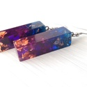 Kék lila és áttetsző logós gyanta fülbevaló, füli, Ékszer, Fülbevaló,  Kockatest formába zárt, rose gold és galaxist idéző színnel kombinált vagány gyanta fülbev..., Meska