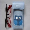 Csupa kék, csíkos bagoly mintás bőr tolltartó, szemüvegtok, Férfiaknak, Táska, Pénztárca, tok, tárca, Szemüvegtartó, Bőrművesség, Kézzel varrott, szabott, kívül belül bőr tolltartó (bőrrel bélelt). Világoskék alapon baglyos díszí..., Meska