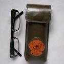 Keki zöld vizsla kutya mintás bőr nagy tolltartó/ szemüvegtok